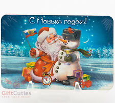 Wooden fridge Magnet lucky charm winter Russian Ded Moroz Snowman Happy New Year