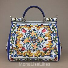 New DOLCE & GABBANA Miss Sicily Majolica Tiles Floral Medium Bag Handbag Purse