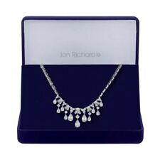 John Richard silver plated zirconia pearl droplet necklace in box