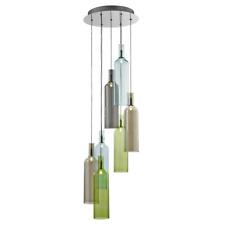 Botellas de Diseño Colores Vidrio Ahumado 5-fl. Lámpara Colgante