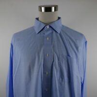 Jos A Bank Mens Traveler LS Button Down Light Blue Check Plaid Dress Shirt 18-35