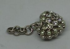 Heart shaped key ring multiple white stones and pearl effect stones. New