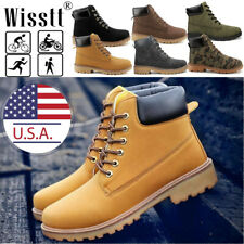Men's Outdoor Work Waterproof Leather Water Boots Casual Ankle Hiking Shoes USA