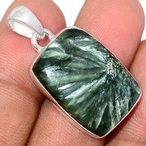 Russian Seraphinite 925 Sterling Silver Pendant Jewelry BP82250