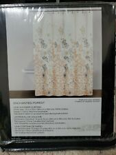 DKNY Enchanted Forest  Fabric Shower Curtain Sorbet Peach Gray White Floral