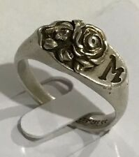 Sterling Silver 925 Yellow Gold Plated Size 6 M Initial Diamond Rose Ring