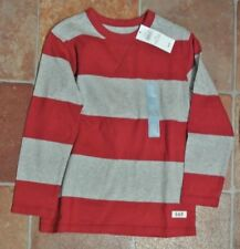 New  Gap 100% cotton long sleeve Red/Grey Top age 4 years