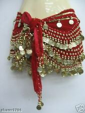 Red w/ Gold Coin Velvet Belly Dance Hip Scarf - Tribal Gypsy Hip/Waist Accessory