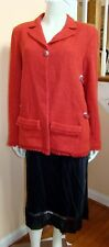 NWT CHANEL 10P Coral Red Jacket with Chain Detail 48