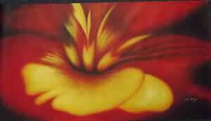 abstract red yellow flower large long original oil painting canvas contemporary