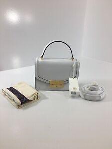 Tory Burch Womens Glossy Leather Juliette Mini Top Handle Satchel White O/S NWT@