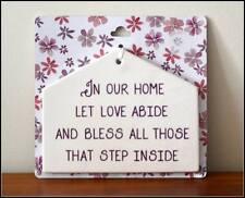 En nuestra casa Casa Colgante Amor cumplir Cerámica Forma placa/Cartel Nuevo Y Etiquetado