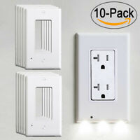 10X Wall Outlet Cover Plate Socket LED Night Light Sensor Auto ON/OFF Bedroom