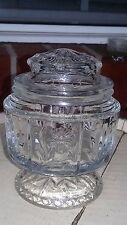Rare Vintage Avon Floral Crystal Glass Pedestal Sugar Bowl or Candy Dish w/Lid