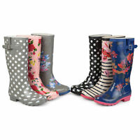 Brinley Co Womens Mizzle Rubber Patterned Rain Boots New