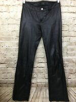 Theory Women's Black Leather Boot Cut Pants Size 2