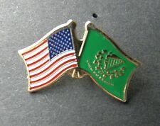 IRISH IRELAND ERIN GO BRAGH USA COMBO FRIENDSHIP FLAG LAPEL PIN BADGE 3/4 INCH