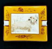 Authentic Hermes Ashtray Sealyham Terrier Dog Porcelain Never Used Vtg