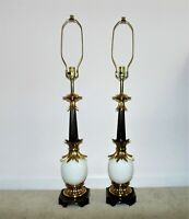 Pair of Tall Stiffel Table Lamps Ostrich Egg Hollywood Regency