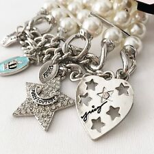 Juicy Couture Star Heart Crown Pearl Charm Bracelet  NWT!