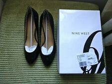 NEW NINE WEST Ladies size 8W UK6 Black Patent Court Shoes