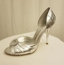 Womens ALDO silver rhinestone peep toe heel bridal wedding Sz 5 35