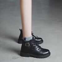 Womens British Style Round toe Punk Lace up Casual Shoes Combat Ankle Boots Size