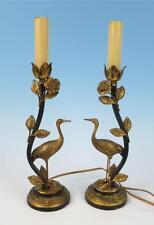 Antique/Vintage PAIR Gilt Brass Crane Table Boudoir LAMPS French Italian Tole