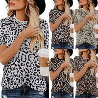 Womens Summer Short Sleeve Leopard Print Casual Beach Loose T Shirt Tops Blouse