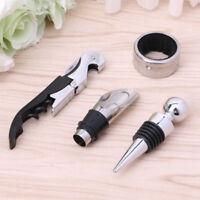 Stainless Steel Wine Tool Gift Set Bottle Opener Corkscrew Stopper Pourer 4Pcs