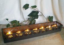 ❀ Schöner Teelichthalter Metall schwarz länglich 35cm für 7 Lichter Kerzenleiste