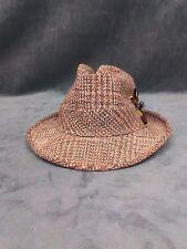 Vintage 60's Harvard Custom Tailored Fedora Hat Tan Twill Tweed