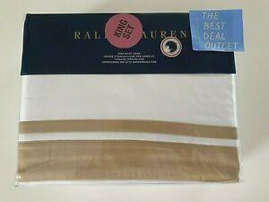 NEW $470 RALPH LAUREN Bowery White Gold King KING Duvet Cover 100% Pima Cotton