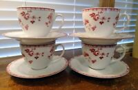 Set Of Four Laura Ashley Sophia Red & White Floral Coffee/Tea Cups And Saucers