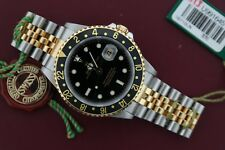 Men's Rolex GMT Master II 16713LN Two-Tone Jubilee Band Black/Black Circa 1997