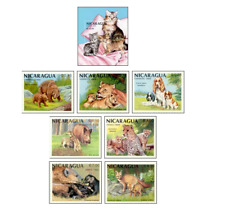 NIC8801 Animals with young block and 7 stamps