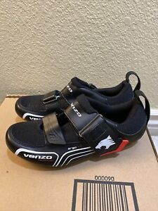 Venzo Men's Triathalon Cycling Shoes Size 6.5 Black Ergo Fit