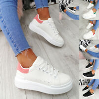 NEW WOMENS LADIES FLATFORM SNEAKERS PLATFORM TRAINERS LACE UP PLIMSOLL SHOES