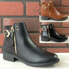 Womens Ladies Flat Low Block Heel Casual Work Office Chelsea Ankle Boots Size