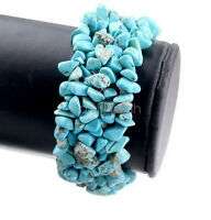 Natural Turquoise Chips Thick Bracelet Crushed Stone Beaded Hand Woven Bangle