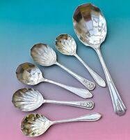 VINTAGE FRUIT SPOONS x6 SHELL COMMUNITY DORCHESTER PLATE EPNS CUTLERY SHEFFIELD