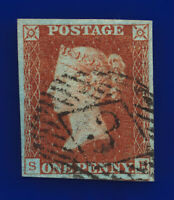 1841 SG8 1d Red Brown Plate 45 1844-type BS26H SH London Good Used Cat £50 cvnd