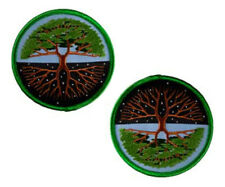 """2pc Tree of Life Summer & Winter Embroidered Patch Iron-On or Sew-On 3"""" Diameter"""