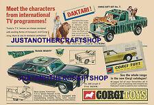 Corgi Toys Green Hornet Daktari Gift Set 268 GS 7 A3  Size Poster Leaflet Sign