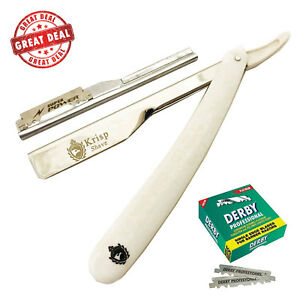 SMART CUT THROAT BARBER SALON STRAIGHT SHAVING RAZOR RASOIR + 100 BLADES WHITE