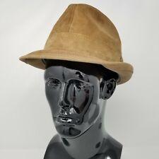 Vintage Bianchi Mens Fedora Genuine Suede Hat Size 7 1/8 Continental StyleTan