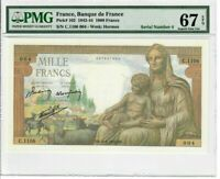 France 1000 Francs Banknote 1942 Pick# 102 PMG Superb GEM UNC 67 - Serial #4