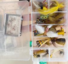 Small Tacklebox With Vintage Fly Rod Lures Heddon Marathon Pecks Creek Chub? Unk