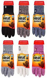 Heat Holder - Ladies Cable Knit 2.3 Tog Thermal Heat Weaver Winter Gloves M/L
