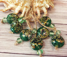 Green Round Handmade Lampwork Glass Beads From Murano Glass 17 Pcs